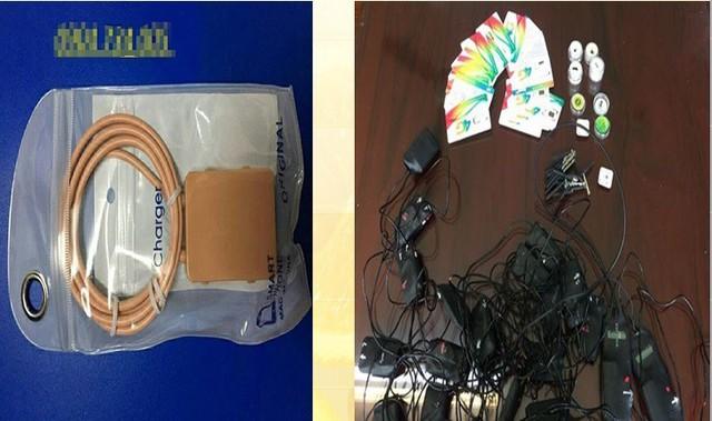 Bộ thu phát có dây gắn kết các thiết bị dùng để gian lận trong thi cử.