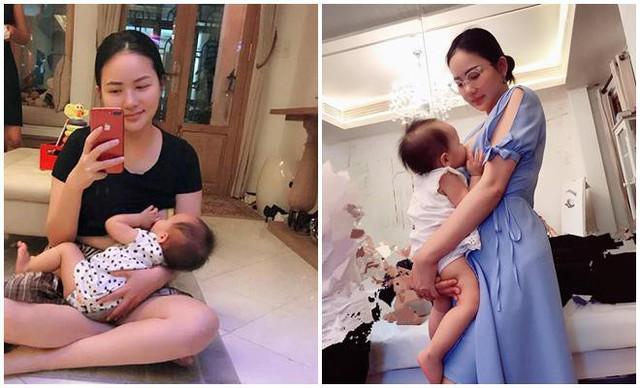 Diễn viên Phan Như Thảo cho con gái đầu lòng Bồ Câu bú mọi tư thế.