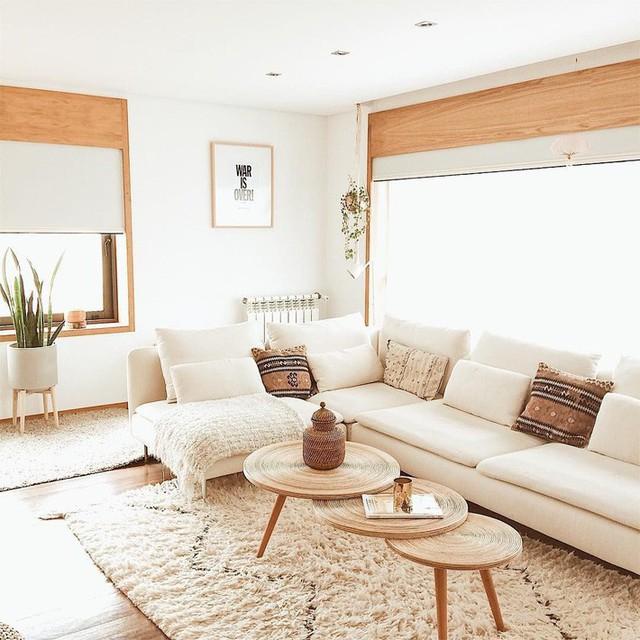 Ghế sofa được đặt trước cửa sổ và khu vực ngồi tràn ngập ánh sáng.