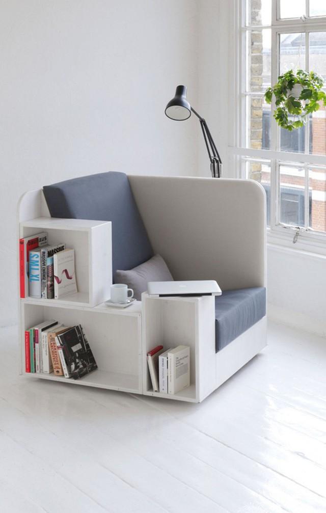 Ghế đọc sách đa chức năng với lưu trữ sách là một phần tuyệt vời cho không gian nhỏ.