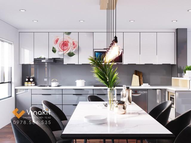 Tủ bếp inox cánh kính cường lực Vinakit đảm bảo tính thẩm mỹ, sang trọng và tinh tế