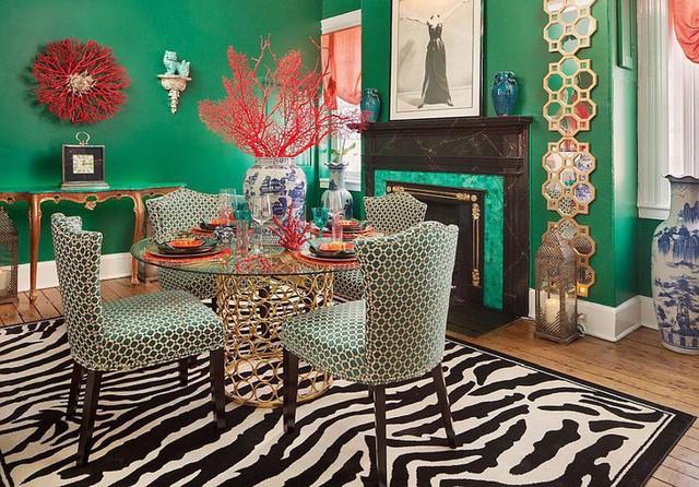 Phòng ăn màu xanh lá cây cũng có thể tạo nên phong cách cổ điển với những rung động về một nét đẹp truyền thống.