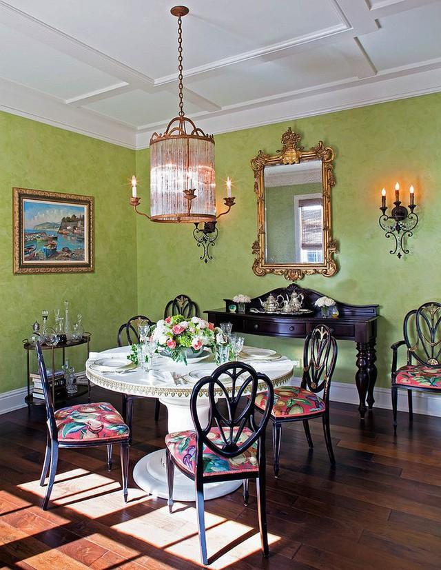Không phải thiết kế phòng ăn màu xanh lá cây nào cũng mang lại cảm giác tươi sáng, vài mẫu thiết kế giúp bạn cảm nhận được nét quyến rũ.