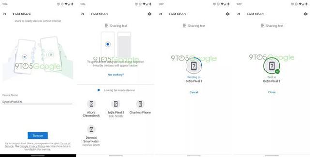 Người dùng Android sắp có tính năng gửi file nhanh tương tự AirDrop của Apple. Ảnh: 9to5Google.