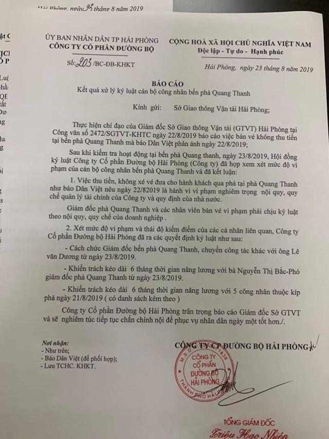 Hải Phòng: Thu tiền không xuất vé, giám đốc bến phà Quang Thanh bị cách chức  - Ảnh 2.