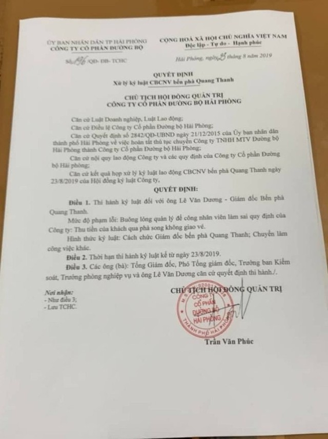 Hải Phòng: Thu tiền không xuất vé, giám đốc bến phà Quang Thanh bị cách chức  - Ảnh 3.