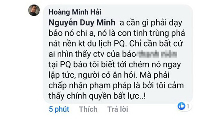 Thầy giáo tố bị dọa chém sau khi viết báo về việc ngập nước ở Phú Quốc - Ảnh 1.