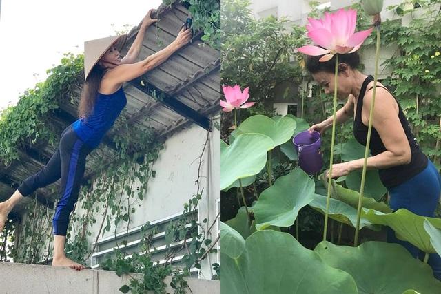 Mẹ Hồ Ngọc Hà tập Yoga, hít thở không khí trong lành trong khu vườn trên sân thượng - Ảnh 2.