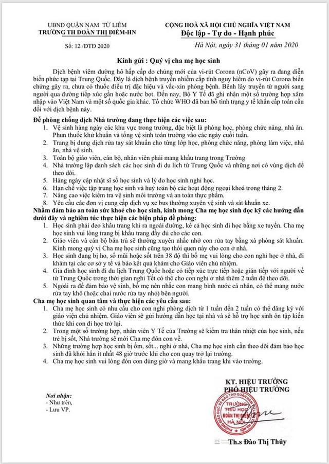 Hà Nội: Trường Tiểu học Đoàn Thị Điểm cho phép học sinh nghỉ học 2 tuần để phòng dịch do virus corona - Ảnh 2.