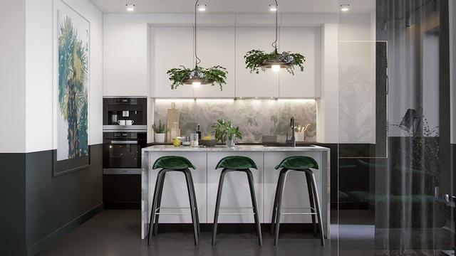 Căn hộ gây ấn tượng mạnh mẽ khi gia chủ dùng nội thất màu xanh lá cây - Ảnh 3.