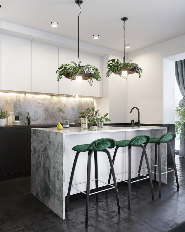 Căn hộ gây ấn tượng mạnh mẽ khi gia chủ dùng nội thất màu xanh lá cây - Ảnh 4.