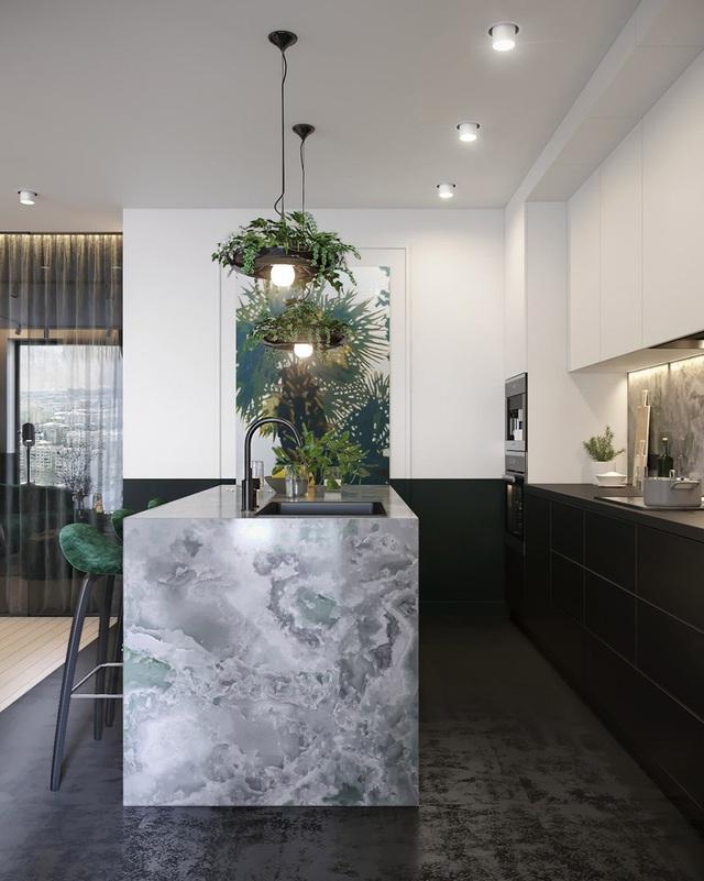Căn hộ gây ấn tượng mạnh mẽ khi gia chủ dùng nội thất màu xanh lá cây - Ảnh 5.