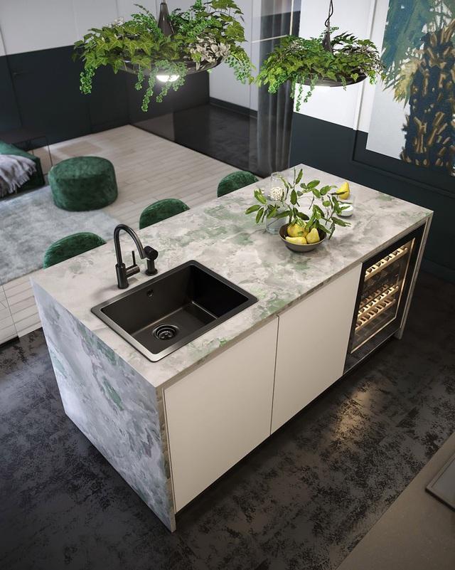 Căn hộ gây ấn tượng mạnh mẽ khi gia chủ dùng nội thất màu xanh lá cây - Ảnh 6.