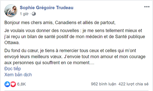 Có chồng chăm sóc 3 con sau khi nhiễm Covid-19, phu nhân Thủ tướng Canada gửi lời nhắn nhủ xúc động - Ảnh 2.