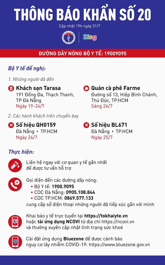 THÔNG BÁO KHẨN SỐ 20: Bộ Y tế khẩn tìm những người đi từ Đà Nẵng đến TP.HCM trong 2 ngày 24-25/7  - Ảnh 3.