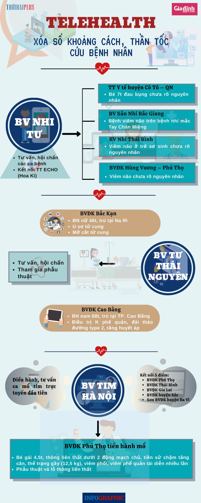 [Infographic] - Những cuộc hội chẩn qua Telehealth cứu bệnh nhân trên mọi miền tổ quốc - Ảnh 1.