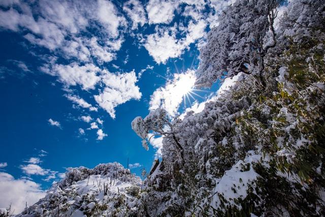 Du khách thích thú với khung cảnh tuyết phủ trắng tuyệt đẹp ngày cuối năm trên đỉnh Fansipan - Ảnh 12.