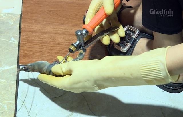 Hà Nội: Lại phát hiện tiểu thương bơm tạp chất vào tôm để tăng trọng lượng - Ảnh 3.