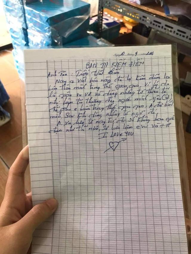 Chồng U40 viết kiểm điểm xin lỗi vợ: Dòng chữ cuối cùng khiên ai đọc cũng rụng tim - Ảnh 1.