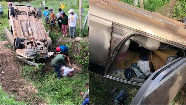 Ô tô con gặp tai nạn lật úp xuống ruộng, tài xế mắc kẹt trong xe tử vong cùng bọc tiền khủng - Ảnh 1.