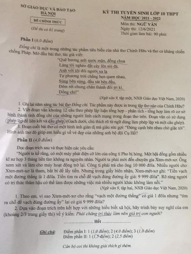 Tiến sỹ văn học chỉ ra những điểm còn thiếu trong đề thi Ngữ văn vào lớp 10 tại Hà Nội - Ảnh 2.