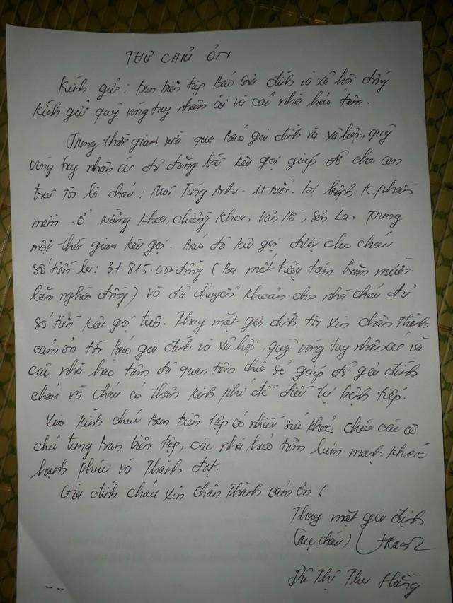Mẹ bé ung thư xúc động viết thư cảm ơn tới Báo Gia đình và Xã hội cùng các bạn đọc sau khi nhận được sự quan tâm - Ảnh 3.