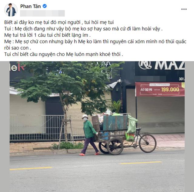 Nam diễn viên Vbiz gây xúc động khi công khai chia sẻ hình ảnh mẹ đẻ là người lao công dọn rác trên đường phố - Ảnh 2.