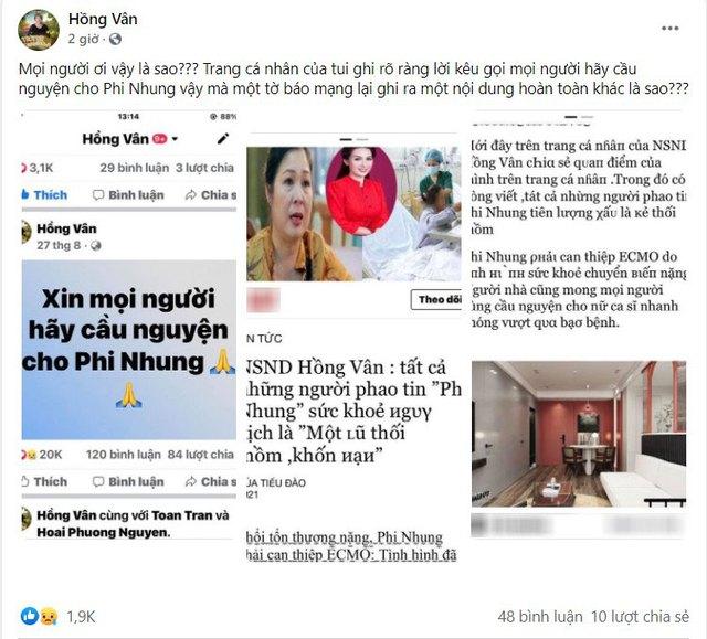 NS Hồng Vân bức xúc vì bị mạo danh tung tin tức tiêu cực về bệnh tình của Phi Nhung - Ảnh 2.