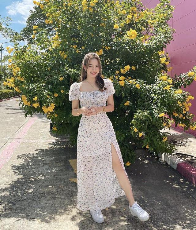 Mỹ nhân Thái Lan phối váy áo hoa đón thu không lo sến súa - Ảnh 5.