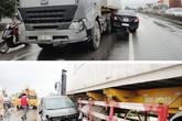 Xe con rơi bánh sau cú va chạm kinh hoàng với xe container