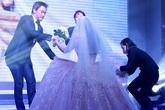 Ông xã sơ ý giẫm vào váy cưới của Khánh Hiền
