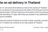 Facebook tắt quảng cáo trong ngày quốc tang Thái Lan