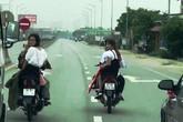 Triệu tập hai thanh niên đầu trần chặn xe ô tô tải bắt nhường đường cho xe dâu