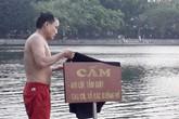Hà Nội: Nắng nóng cao độ, nhiều người bất chấp nguy hiểm vẫn nhảy xuống hồ Bảy Mẫu bơi lội