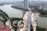 Cầu vượt thấp qua hồ Linh Đàm sắp hoàn thiện khiến hàng vạn cư dân Thủ đô vui mừng
