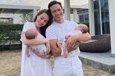 Hình ảnh Kim Lý - Hà Hồ hạnh phúc khoe cặp song sinh 2 tháng tuổi