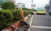 Bị taxi húc văng chục mét khi đang tỉa cây