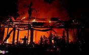 Ngôi chùa cổ lớn nằm bên hồ Tây bốc cháy dữ dội giữa đêm