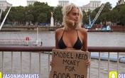 Thiếu nữ xinh đẹp xin tiền người qua đường để nâng ngực