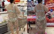 Diện trang phục đi siêu thị như đi biển, người phụ nữ bị chỉ trích nặng nề