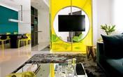 Phòng khách sang chảnh khi sử dụng có nội thất màu vàng