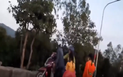 Đàn khỉ kêu gào đuổi theo người đàn ông bắt khỉ con trên bán đảo Sơn Trà