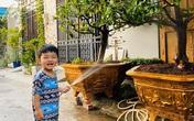 Con trai Hải Băng cầm vòi nước giúp bố mẹ chăm cây trước ngôi nhà phố tiền tỷ khiến ai cũng thích thú