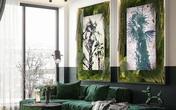 Căn hộ gây ấn tượng mạnh mẽ khi gia chủ dùng nội thất màu xanh lá cây