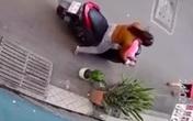Người phụ nữ đi xe máy thản nhiên bứng trộm cây cảnh trước nhà dân