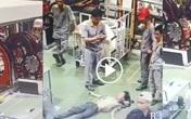 Kinh hoàng khoảnh khắc nam công nhân bị cuốn kẹt cổ vào máy