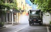 180 chiến sĩ phun khử khuẩn khắp phố phường Hà Nội