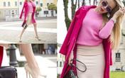 Áo khoác hồng sưởi ấm ngày đông