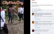 Xôn xao clip nữ sinh đánh nhau trước cửa ủy ban xã