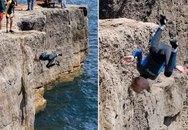 Bé trai suýt húc đầu vào vách đá sau khi nhảy santo từ độ cao 9 m